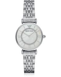 Emporio Armani - T-bar Silvertone Stainless Steel Women's Watch W/mother Of Pearl And Crystals Dial - Lyst