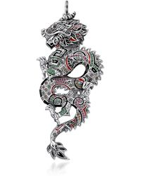 Thomas Sabo - Blackened Sterling Silver Enamel And Glass-ceramic Stones Medium Chinese Dragon Pendant - Lyst
