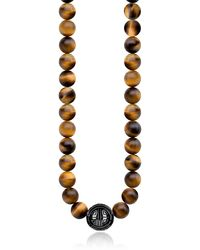 Thomas Sabo   Yellow Tiger Eye Beads And Sterling Silver Men's Necklace   Lyst