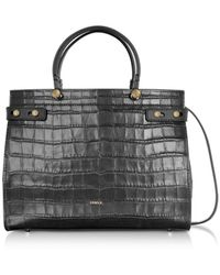 Furla - Croco Embossed Leather Lady M Tote Bag - Lyst