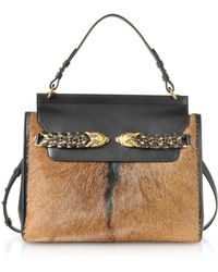 Roberto Cavalli - Black Leather And Natural Pony Hair Satchel Bag - Lyst