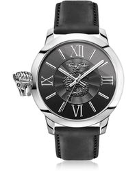 Thomas Sabo - Rebel With Karma Silver Stainless Steel Men's Watch W/black Leather Strap - Lyst