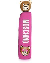 Moschino - Toy In Love Fuchsia Mini Umbrella W/teddy Handle And Neoprene Pouch - Lyst