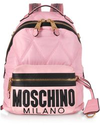 Moschino - Quilted Canvas And Satin Signature Backpack - Lyst