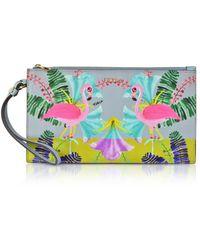 Furla - Flamingo Printed Toni Fiordaliso Saffiano Leather Babylon Xl Envelope Clutch - Lyst
