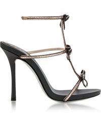 Rene Caovilla - Caterina Black/nude Satin T-bar Sandals W/crystals - Lyst
