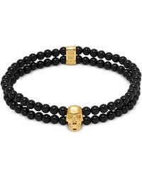 Northskull - Double Row Beaded Bracelet With Skull Charmin Black Onyx & Gold - Lyst