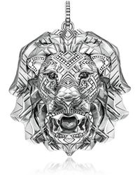Thomas Sabo - 925 Sterling Silver Lion Pendant w/Black Zirconia - Lyst