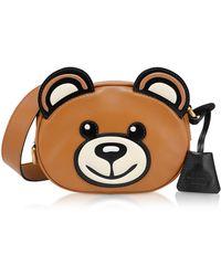 288afa5c0f98 Lyst - Moschino Teddy Bear Tab Faux Leather Shoulder Bag in Red