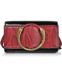 Roberto Cavalli - Black Patent Leather And Cherry Python Small Shoulder Bag - Lyst