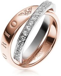 Emporio Armani - Heritage Rose Goldtone Double Ring W/crystals - Lyst
