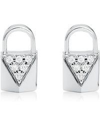 Michael Kors - Mercer Link Silver Pave-embellished Padlock Earrings - Lyst