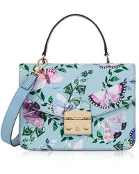 Furla - Butterfly Printed Fiordaliso Leather Metropolis Small Top-handle Shoulder Bag - Lyst