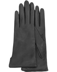 FORZIERI - Women's Black Cashmere Lined Italian Leather Gloves - Lyst
