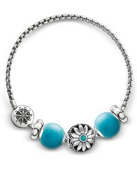 Thomas Sabo - Blackened Sterling Silver Bracelet W/turquoise Howlite Beads - Lyst
