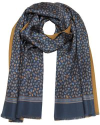 Forzieri | Micro Paisley Print Blue Silk And Camel Modal Reversible Men's Scarf | Lyst