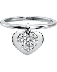 Michael Kors - Kors Heart Plated Sterling Silver Pavé Ring - Lyst