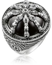 Thomas Sabo | Blackened Sterling Silver Ring W/black Zirconia And Onyx | Lyst