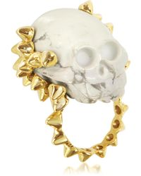 Bernard Delettrez - Golden Studs With Marble Skull Ring - Lyst
