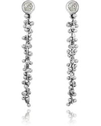 Orlando Orlandini - White Gold Cascade Drop Earrings W/diamond - Lyst