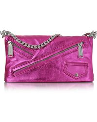 DSquared² - Babe Wire Fuchsia Laminated Nappa Leather Foldable Clutch - Lyst