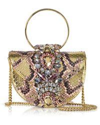 Gedebe - Mini Brigitte Pink Gold Python Clutch W/crystals And Chain Strap - Lyst