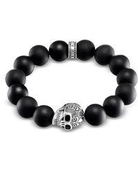 Thomas Sabo - Power Skull Sterling Silver Men's Bracelet W/obsidian Matt Beads - Lyst