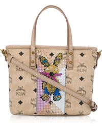 MCM - Visetos Studded Rabbit Beige Top Zip Mini Tote Bag - Lyst