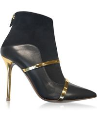 Malone Souliers - Black And Gold Nappa Leather And Suede High Heel Boots - Lyst