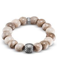 Thomas Sabo - Power Skull Sterling Silver Men's Bracelet W/jasper Beads - Lyst