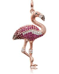 Thomas Sabo - Rose Gold Plated Sterling Flamingo Pendant W/pink Zirconia - Lyst