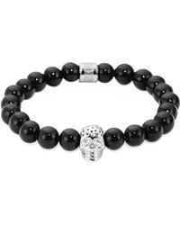 Northskull - Onyx Perforated Skull Men's Bracelet - Lyst