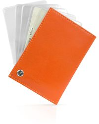 Giorgio Fedon - Classica - Orange Calfskin Business Card Holder - Lyst