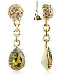 AZ Collection - Green Clip-on Drop Earrings - Lyst