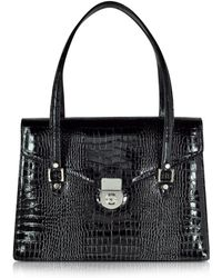 L.A.P.A. - Black Croco-style Leather Double Gusset Briefcase - Lyst