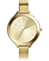 Michael Kors - Mid-size Golden Stainless Steel Slim Runway Three-hand Watch - Lyst