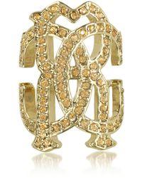 Roberto Cavalli - Rc Icon Light Gold Ring W/crystals - Lyst