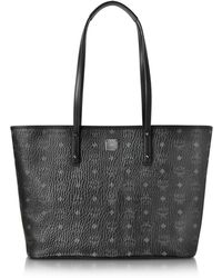 MCM - Anya Black Top Zip Medium Shopping Bag - Lyst