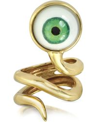 Bernard Delettrez - Bronze Snake Ring With Eye - Lyst