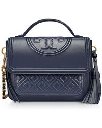 Tory Burch - Fleming Leather Satchel Bag W/shoulder Strap - Lyst