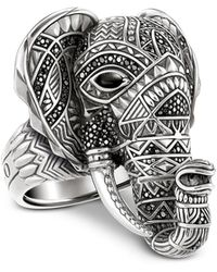Thomas Sabo | Blackened Sterling Silver Elephant Ring W/black Zirconia Pavè | Lyst
