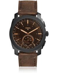 Fossil - Q Machine Dark Brown Leather Men's Hybrid Smartwatch - Lyst