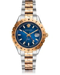 Versace - Hellenyium Gmt Stainless Steel Men's Watch W/greek Inserts And Blue Dial - Lyst