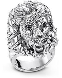 Thomas Sabo | Blackened Sterling Silver Lion Ring W/black Zirconia Pavè | Lyst