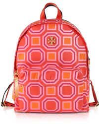Tory Burch - Octagon Square Print Nylon Backpack - Lyst