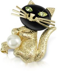 AZ Collection - Green-eyed Cat Pin - Lyst