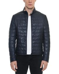 FORZIERI - Dark Blue Quilted Leather Men's Jacket - Lyst
