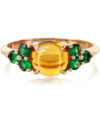 Mia & Beverly - Citrine Quartz And Sapphires 18k Rose Gold Ring - Lyst