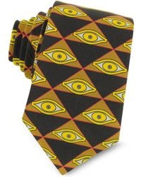 Givenchy - Eyes And Triangles Printed Cotton Narrow Tie - Lyst