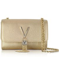Valentino By Mario Valentino - Laminated Lizard Embossed Eco Leather Divina Mini Shoulder Bag - Lyst